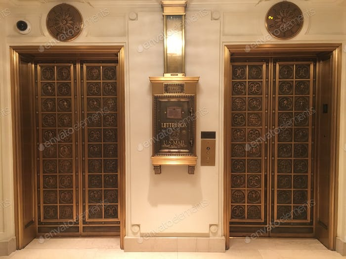 Hotel elevators and mailbox