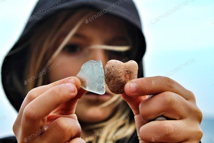 Girl finding treasures