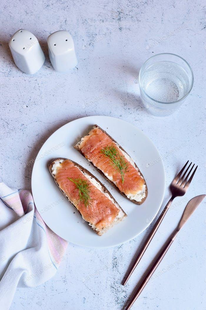 Smoked salmon on a white plate