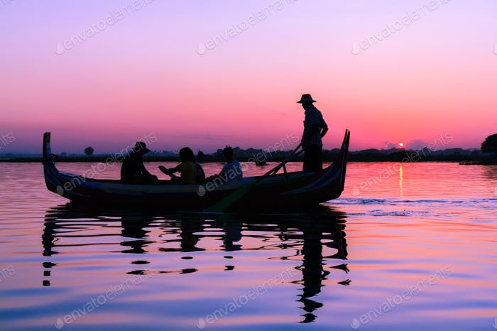 Boating at sunset.