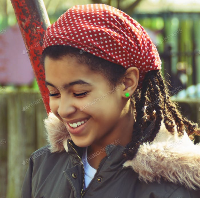 Beautiful mixed race girl portrait