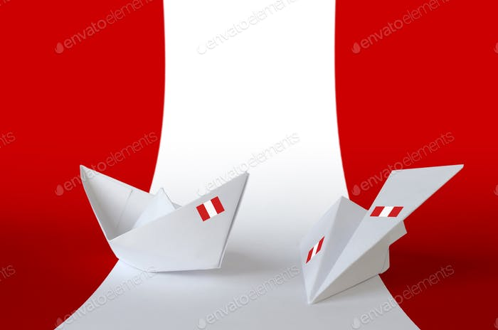 Peru flag depicted on paper origami airplane and boat. Oriental handmade arts concept
