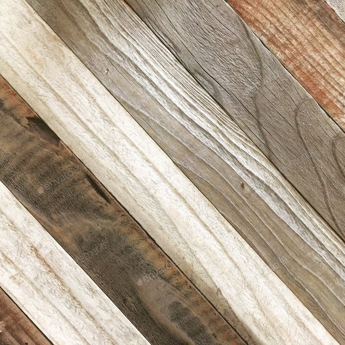 Diagonal reclaimed rustic weathered wood