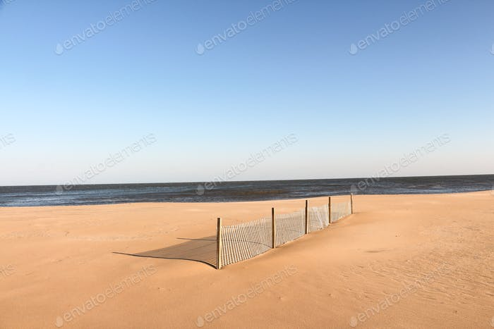 Fence at the beach during winter