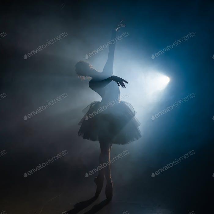 Young beautiful ballerina on smoke stage dancing modern ballet