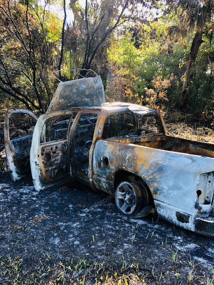 Nature, natural backgrounds, pick up truck crashed and caught fire and totally destroyed.
