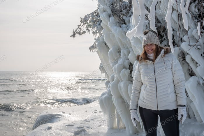 Amazing giant icicles along Lake Michigan shoreline in sub zero winter weather
