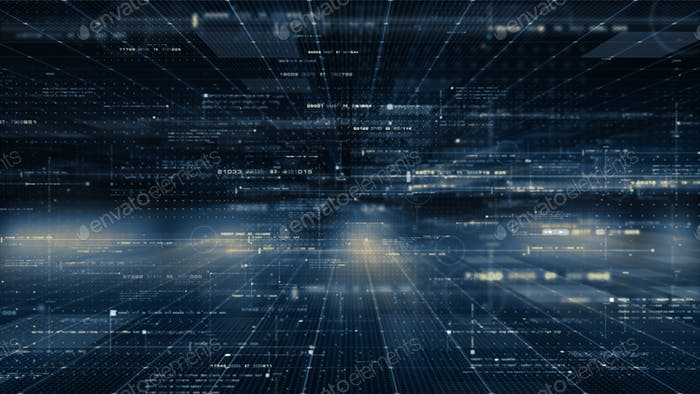 Entorno cibernético de matriz digital futurista
