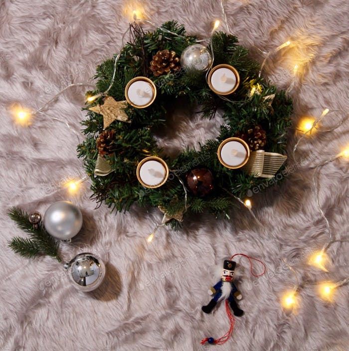 🌸NOMINATED 🌸Christmas Flatlay with light strand