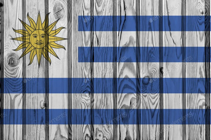 Uruguay flag depicted in bright paint colors on old wooden wall close up