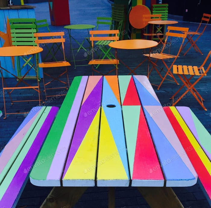Colourful seating...