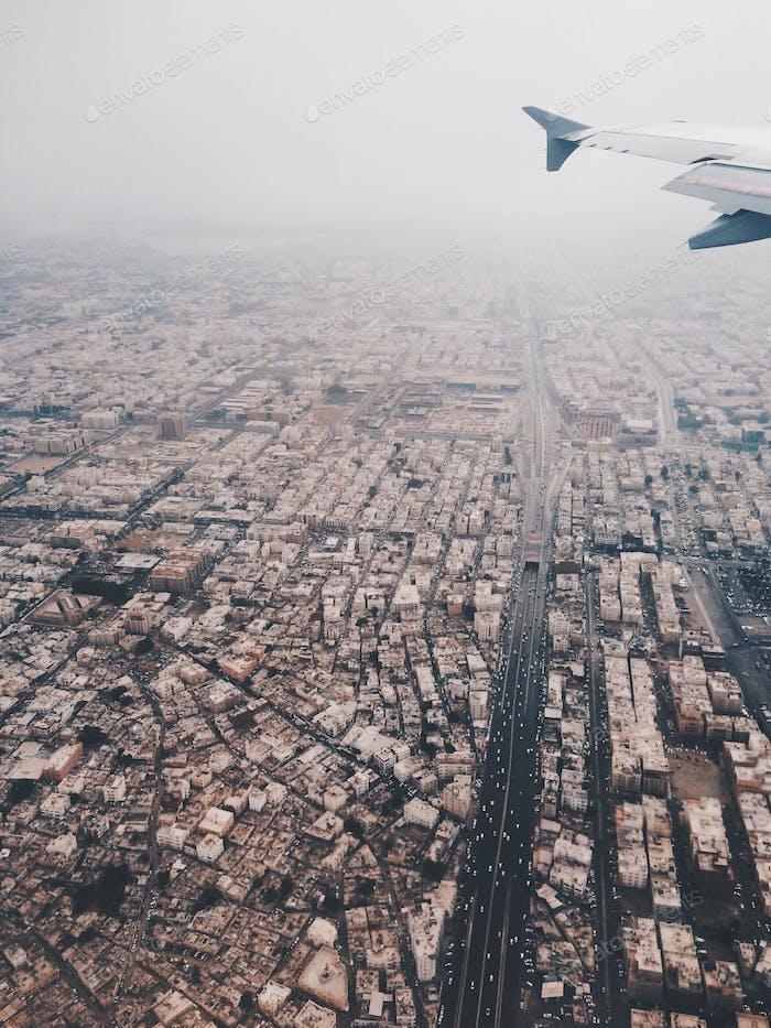 Flying over Jeddah, Saudi Arabia