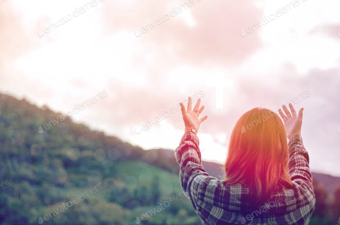 Raise your hands and praise the Lord Asking God to help repent, praying, Christian Christianity back