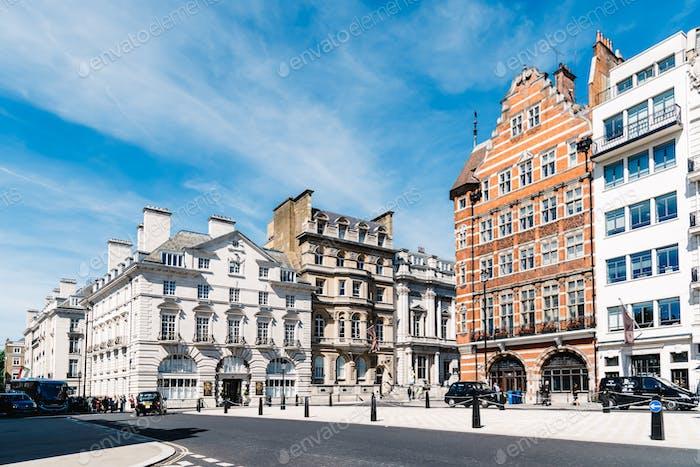 Luxury apartment buildings in a wealthy neighborhood of London, England, UK