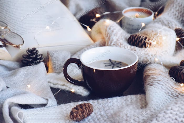 Cozy sweater, an open book and a warm drink with fairy lights, candle and pine cones 💲