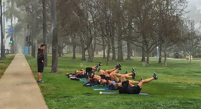 The Navy working out on this foggy morning at Balboa Park.