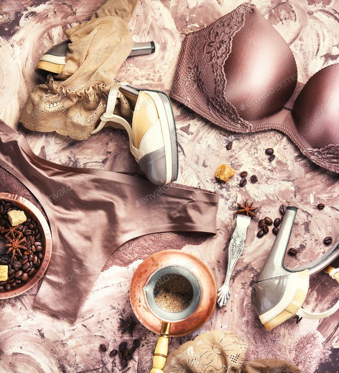 Erotic concept with women underwear and coffee in jezva