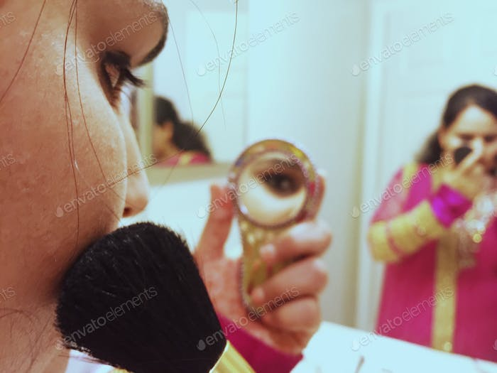 Last minutes touch up by blusher #traditional Indian dress up #skincare challenge