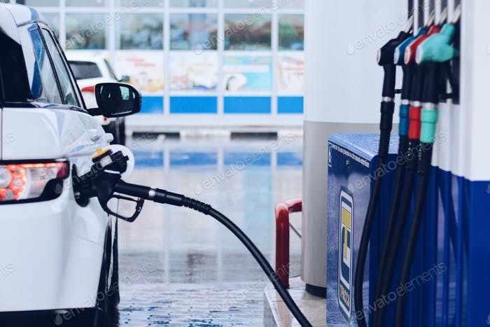 Filling of the car with diesel fuel