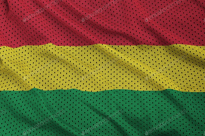 Bolivia flag printed on a polyester nylon sportswear mesh fabric with some folds