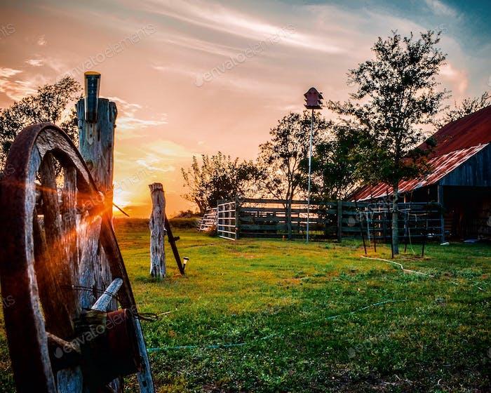 Texas Scheune bei Sonnenuntergang