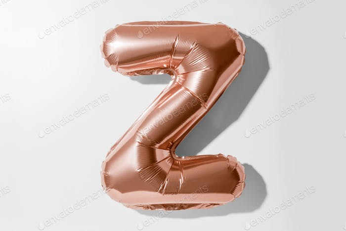 Letter Z, Rose gold foil balloon alphabet isolated on white background with Clipping Path