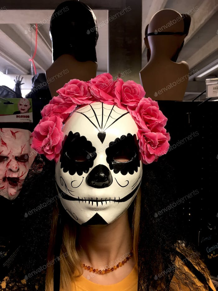 Mardi grass face mask with pink flowers