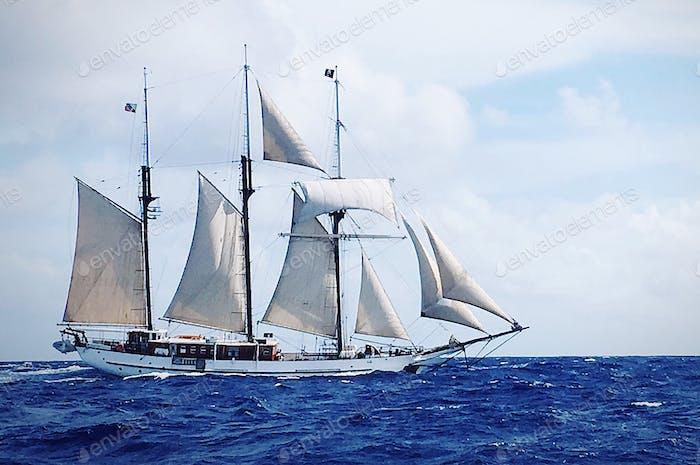 Sailboat sailing the Caribbean