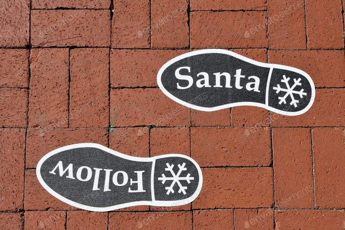 Follow Santa's footsteps  to visit with Santa Claus and tell him what you want for Christmas