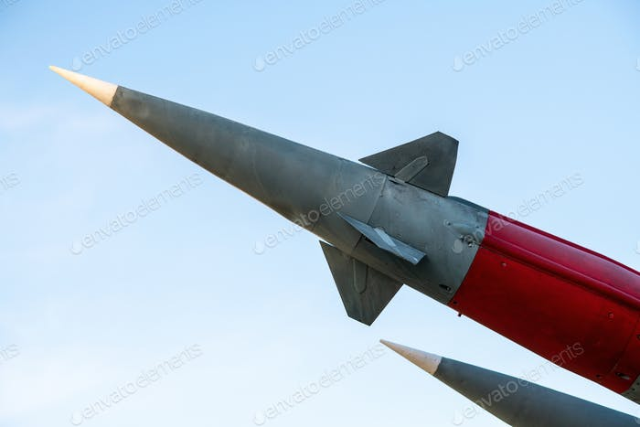 Rocket shell ready to launch. Dangerous weapons of mass destruction of enemies of the country.