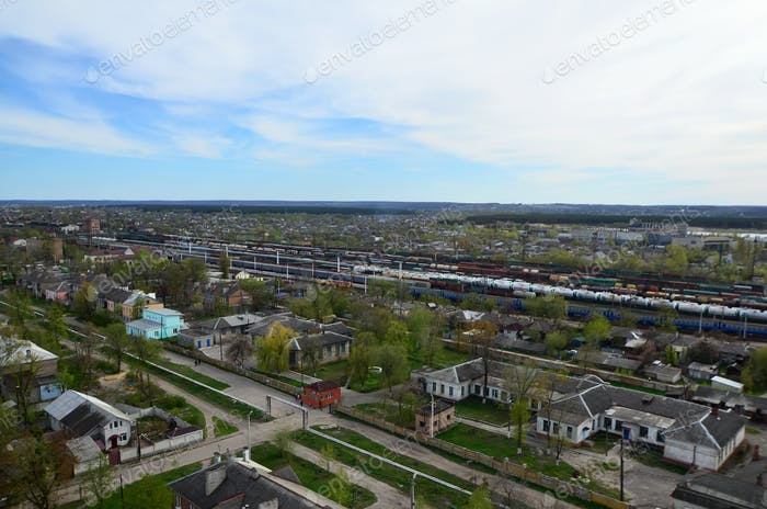 Landscape of an industrial district in the Kharkov city from a bird