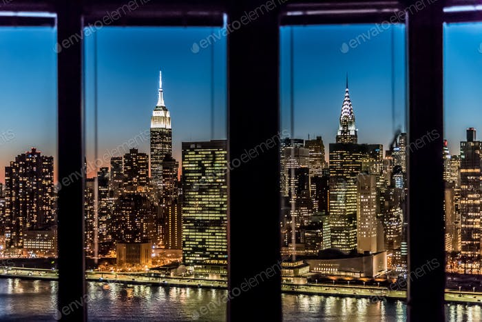 View of Manhattan skyline from Long Island City apartment in New York.