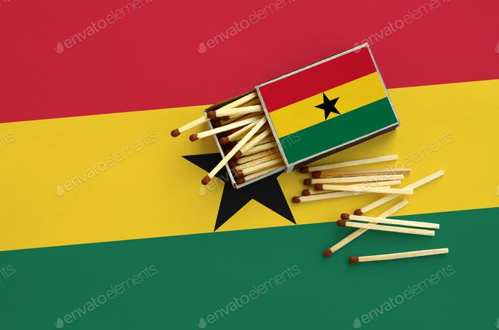 Ghana flag  is shown on an open matchbox, from which several matches fall and lies on a large flag.