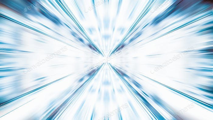 Blur zoom abstract background in blue and white, vanishing point diminishing perspective