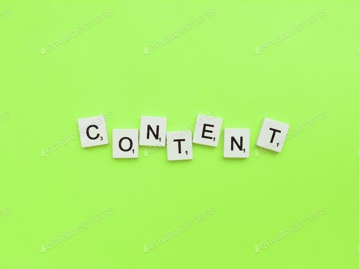 Content scrabble letters word