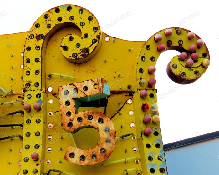 Yellow Five Sign at the Neon Museum in Las Vegas