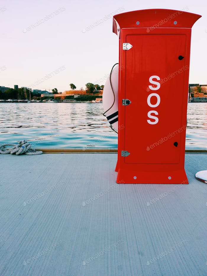 Remember to save me after the Jump, sos, buoy, safety, red, waterfront, sunset, pier, sunset