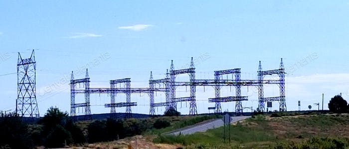 POWER! Electrical power lines and towers at a power plant!