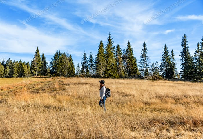 Young woman hiking in field, tall grass, autumn fall, one person.