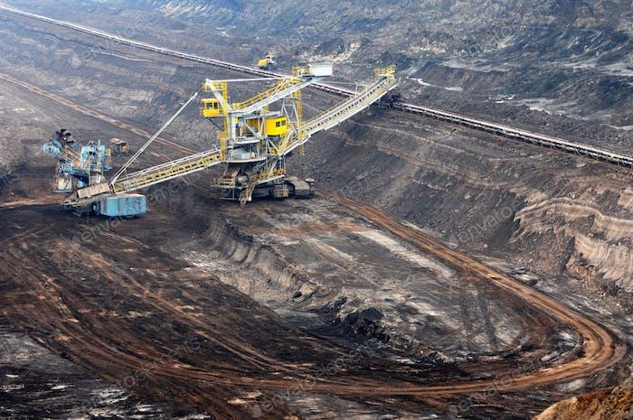 Vista en una mina de carbón con excavadora de rueda de trabajo