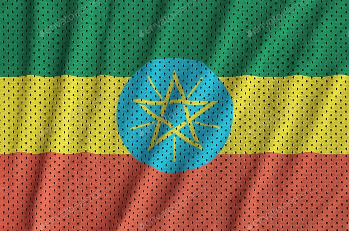 Ethiopia flag printed on a polyester nylon sportswear mesh fabric with some folds