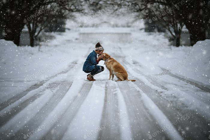 Girl and her dog on a wintery afternoon