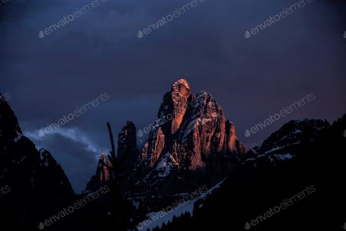 Sunset in mounts Dolomite Alps