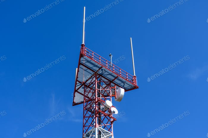 Metal construction of a radio tower. Beacon, wireless, antenna, repeater, network, communication.