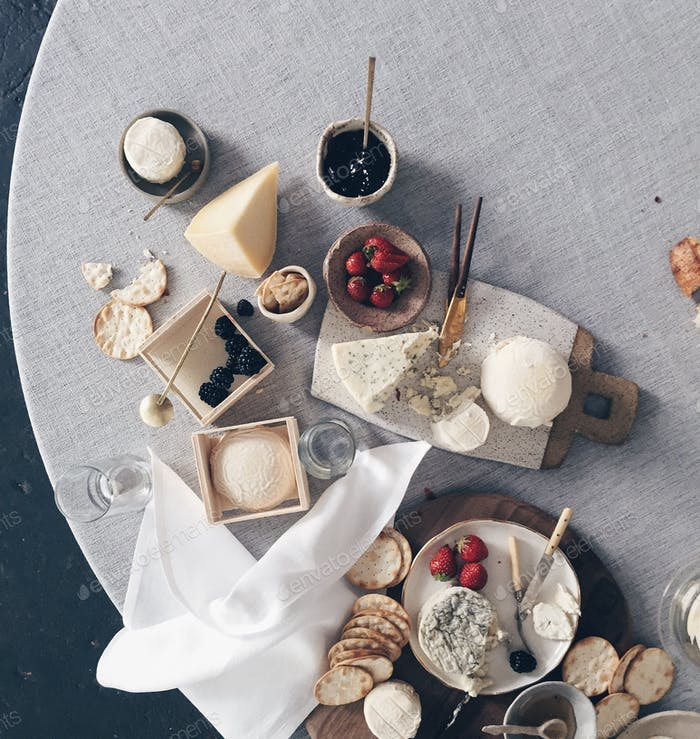 Cheese platters and berries