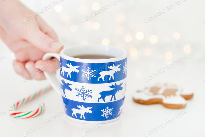 Christmas hot beverage, tea cup, classic blue