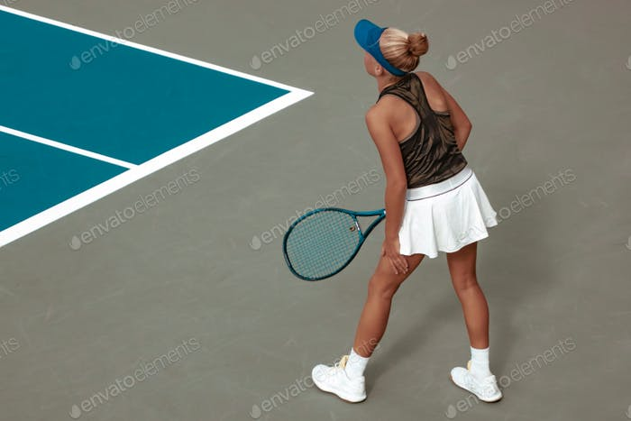 girl playing tennis, competitive sport, court, racket
