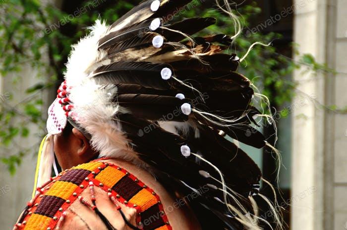 Rear portrait of native American Indian chief with headdress of feathers