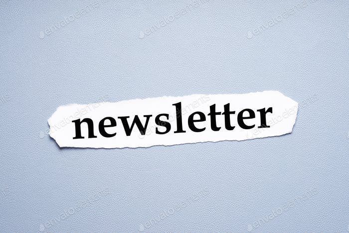 newsletter in lower case letters printed on torn piece of paper