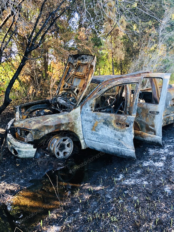Nature, natural backgrounds, pick up truck crashed and caught fire, and was totally destroyed.